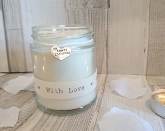Merry Christmas (with love ribbon) Scented Soy Candle Gift