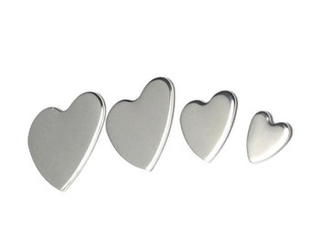 Sterling Silver Heart Blank | Silver stamping Blank| Various sizes| Jewellery making