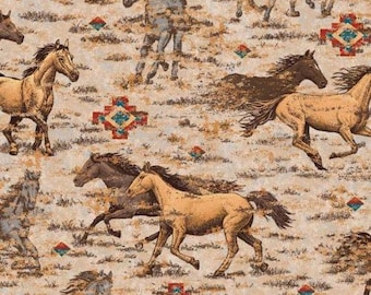 Patchwork quilt fabric curtain fabric Indian Horse Lakota Cotton