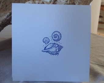 Handstamped Shell Notecards, Set of Sxi