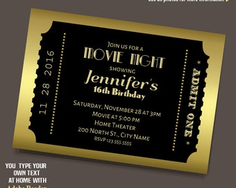 Hollywood Party Invites as amazing invitation template