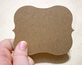 "Kraft 4"" Die Cut Bracket Labels - DIY Die Cut Tags - Card Stock Label - Wedding - Shower"