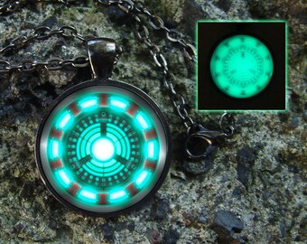 Superhero Glowing necklace Superhero Green glowing Glow in the dark Super hero necklace Personalized superhero black necklace Gifts for men