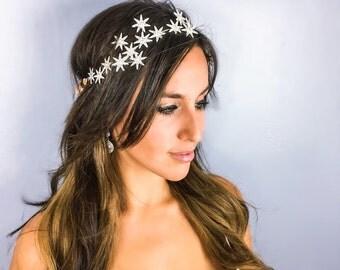 Bridal Headband, Bridal Headpiece, Starry Night Head Wreath, Prom Hair, Formal Hair Accessories, Homecoming Hair, Ribbon, Silver Stars