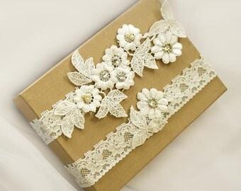Light Ivory  Lace Wedding Garter Set ,Pearl,Rhinestone Lace Garter Set, Toss Garter , Keepsake Garter ,Customizable Handmade-GT036