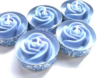 Blue Rose Tea Light Candles / Blue Wedding Favours / Something blue / Candle Gift