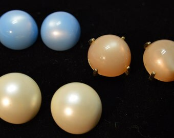 Vintage Estate Costume Jewelry Clip Earrings 3 pair Lot Pearlessance White, Blue, Brown 1960-70s