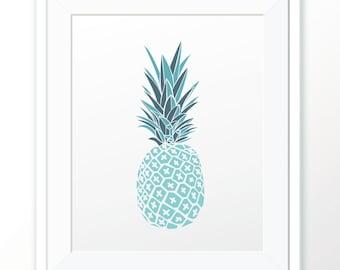 Pineapple Print, Summer Print, Printable Art, Home Office Studio Decor, Wall Art, Wall decor, Digital Print