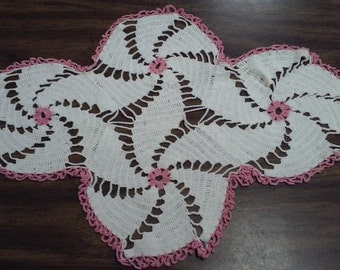 """Vintage Crochet White DOILY with PINK ACCENTS.  23"""" X 16"""". Three available."""