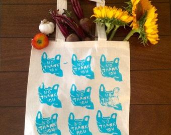100% Corton Handmade Screen Printed Reusable Grocery Tote Bag