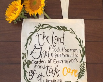 100% Cotton Hand Painted Reusable Grocery Bag Tote