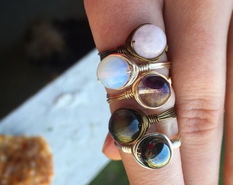 Choice of TWO RINGS for 15 dollars! Wirewrapped healing crystal rings!