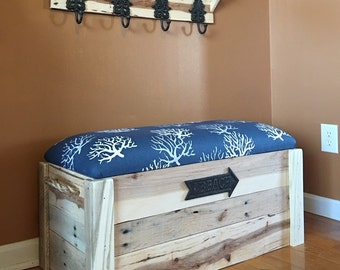Entryway bench and coat rack - Entryway set - includes storage bench/chest and 4 hook coat rack
