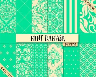 BUY 3 FOR 8 USD, Mint digital paper pack, elegant digital paper, wedding paper, damask digital paper, mint damask, download