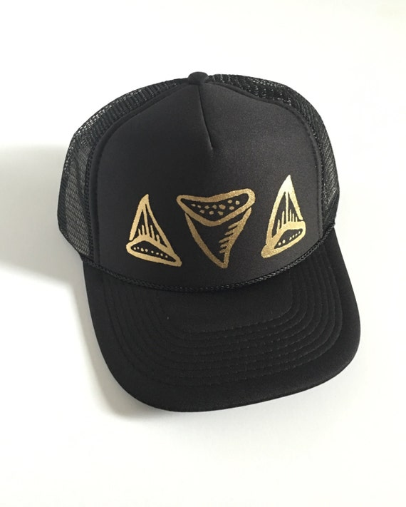 Shark Tooth Hat | Hawaii Hat| Trucker Hat | Beach Hat|Black with gold vinyl design