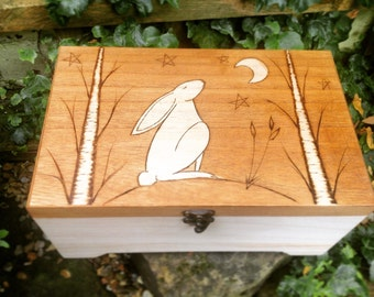Large hare wooden box, personalised box, storage box, gifts for her, baptism gift, christening gift, wedding box, spiritual gift