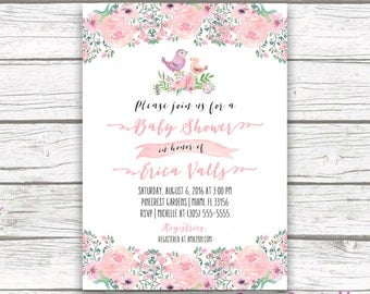 Bird Baby Shower Invitation, Boho Baby Shower Invitation,  Pink Watercolor Floral, Girl Baby Shower Invite, Printable Invitation