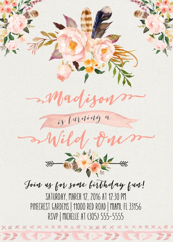 wild one birthday invitation boho birthday invitation girl, Wedding invitations