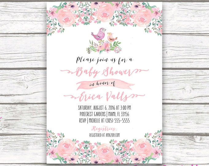 Bird Baby Shower Invitation Boho Pink Watercolor Floral Girl