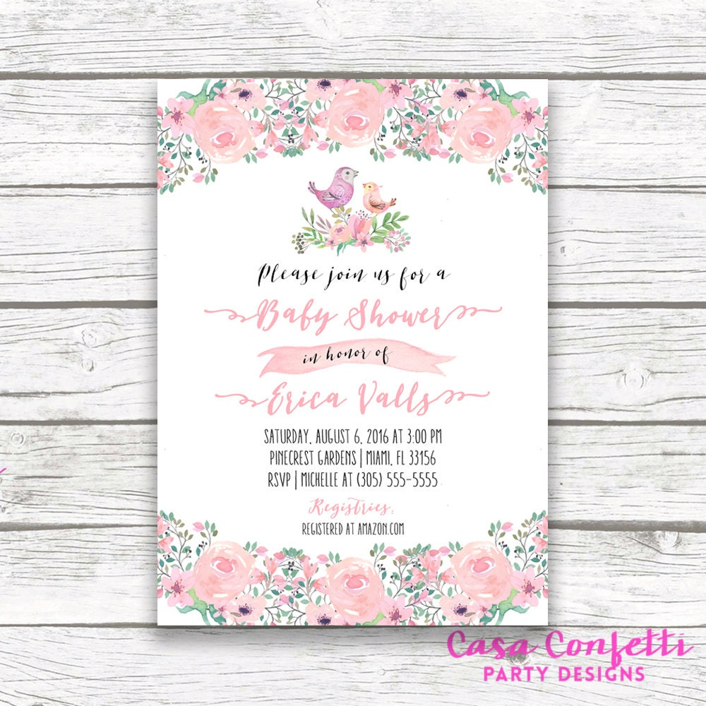 Bird Baby Shower Invitation, Boho Baby Shower Invitation, Pink ...