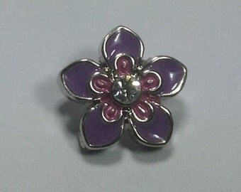 NEW! 12mm MINI SNAP..purple and pink & Clear Stone Enamel Flower Snap