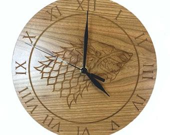 Game of Thrones Inspired House Stark Cherry Wood Clock