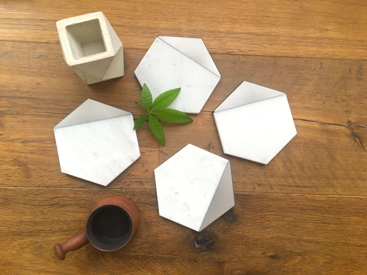 Decorative real marble coasters