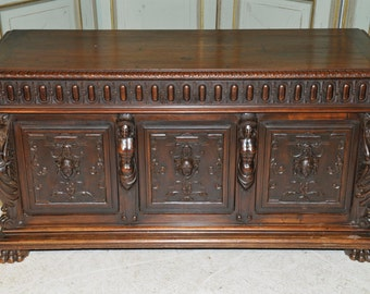 Antique French Trunk Renaissance Trunk Highly Carved Statuary Solid Walnut 19th Century #6543