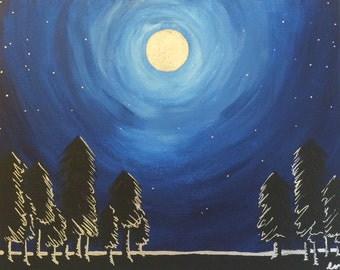 Moonrise Original Acrylic Painting on Canvas 10 x 8 inches