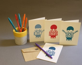 Little Paper Warrior Greetings Card Set (Blank Inside)