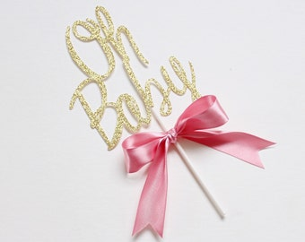 Oh Baby Cake Topper - Baby Shower Cake Topper - Gold Glitter Cake Topper - Baby Shower Cake Topper - Baby Cake - It's a Girl - It's a Boy