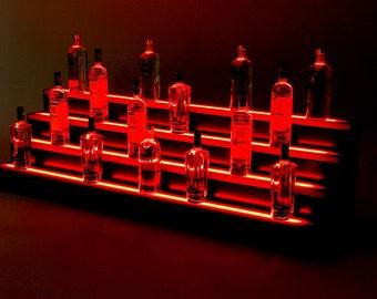 3ft, 4 Step LED Light Shelf Tier, Bottle Step, Bar Bottle Organizer