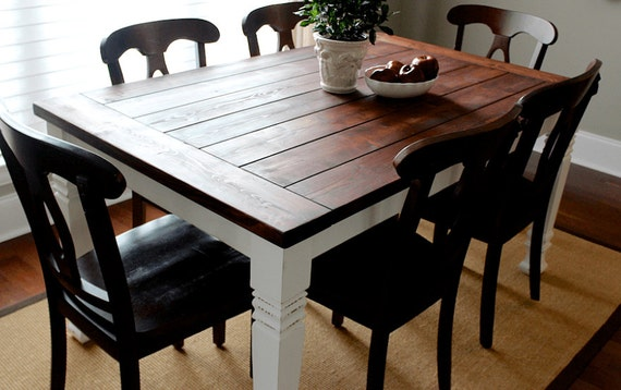 Dining room table turned leg rustic large by fatherofwood for Dining room tables etsy