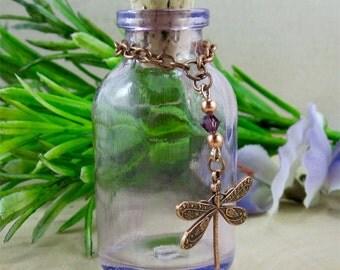 Vintage Purple Glass Apothecary Bottle, Dragonfly Charm, Perfume Bottle, Aromatherapy Bottle, Swarovski Elements
