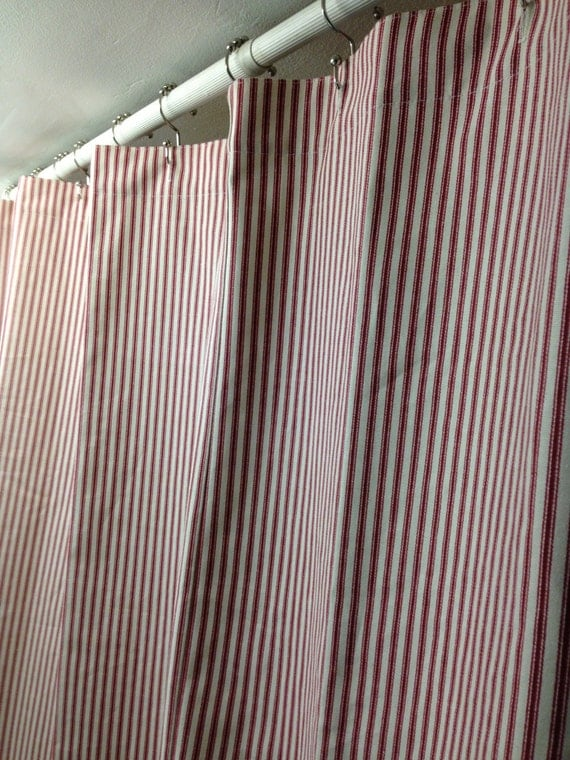 Red And Ivory Ticking Shower Curtain 72W X 72L Cotton