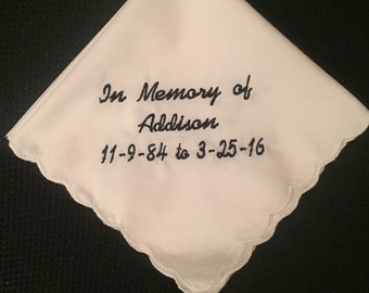 In memory of handkerchief- Funeral keepsake- gifts for the guest