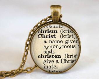 Christ Necklace • Christian Jewelry • Christ Definition • Christian Gifts • Dictionary Quote Jewelry • Jesus Jewelry • Definition Necklace
