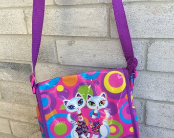 Vintage Lisa Frank handbag, Lisa Frank Purse, Lisa Frank Siamese Cat bag, Lisa Frank long strap bag