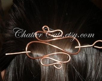 Copper Brass Metal Hair Stick Barrette, Chignon Bun Holder, Hair Clip, Hair Pin, Hair Barrette, Hair Stick, Hair Fork, Scarf Slide