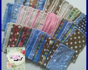 BULK BUY 60 flannel wipes, reusable wipes, double sided wipes, family cloth, toilet paper, bathroom tissue, boogey wipes, soft, custom, deal
