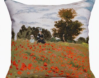 "Tapestry Cushion Claude Monet - Coquelicots, La promenade (Poppies) 45x45cm (18 ""x 18"")"