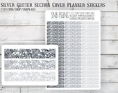 Glitter Section Headers // Silver Chunky Mix // 57 Planner Stickers