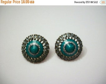 ON SALE Vintage Southwestern Silver Turquoise Earrings 1003