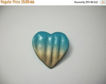 ON SALE Vintage Shades of Turquoise Blue Gold Heart Pin 1021