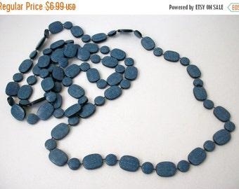 ON SALE Vintage Jeans Blue Single Strand Long Necklace 1125