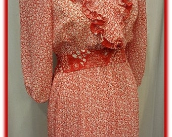1970's Vintage Tomato Red and White Day Dress ~ Great Spring to Summer Dress ~ Made in USA