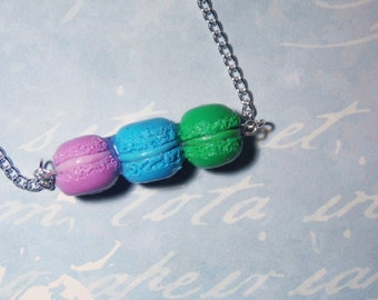Macaroon Necklace, Macaroon Charm Necklace, Pastel Macaroon Necklace, Colorful Macaroon Necklace
