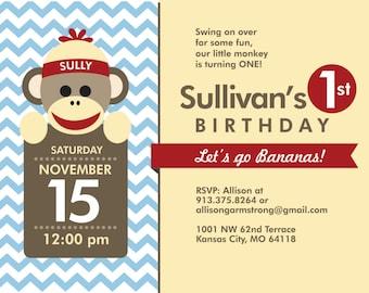 Sock Monkey Birthday Invite