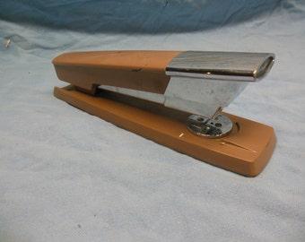 Unique Retro Art Deco Swingline Chrome and Tan/Brown Metal Stapler - Mid Century Modern Vintage Swing Line Stapler Office Decor