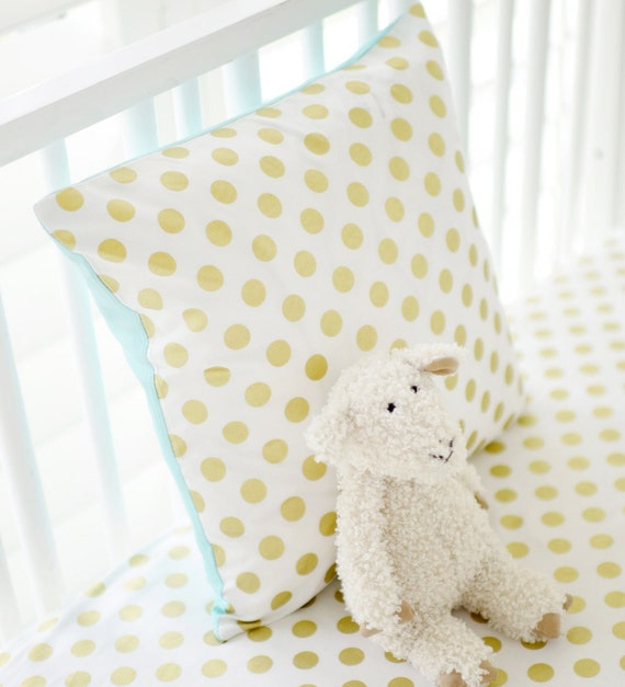 Marion S Coral And Gold Polka Dot Nursery: Gold Dot Polka Dot Nursery Throw Pillow By